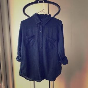 COPY - Dark Blue Linen Chambray Button Up